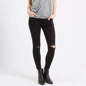 Topshop Black Moto Leigh Ripped Skinny Jeans